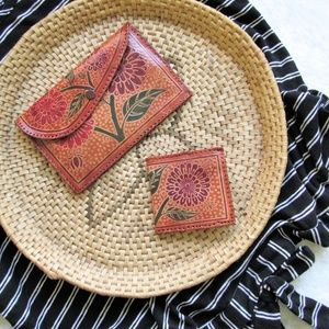 Vintage tooled leather wallet combo